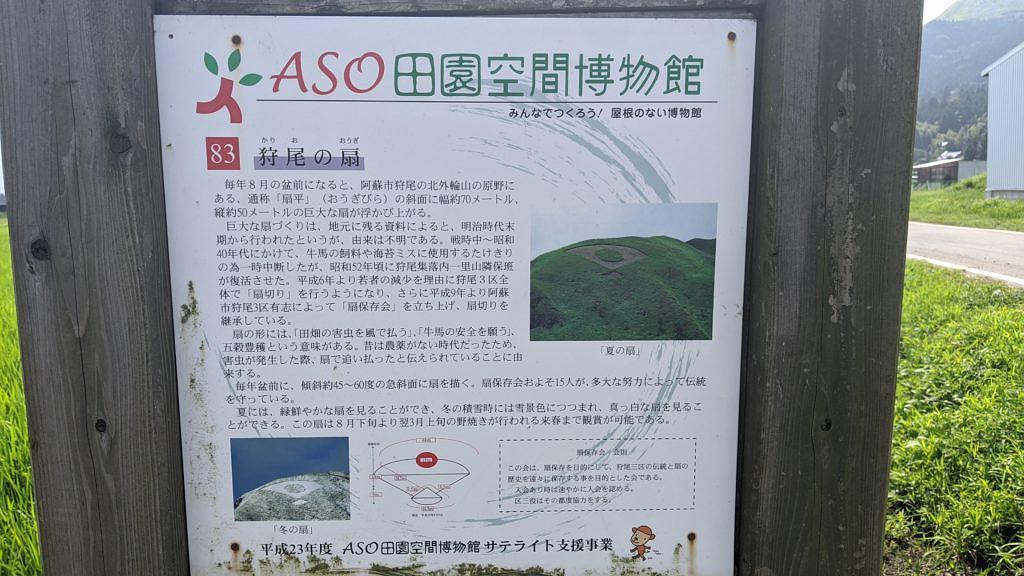 【阿蘇市狩尾】北外輪山斜面の山肌に伝統の日の丸扇