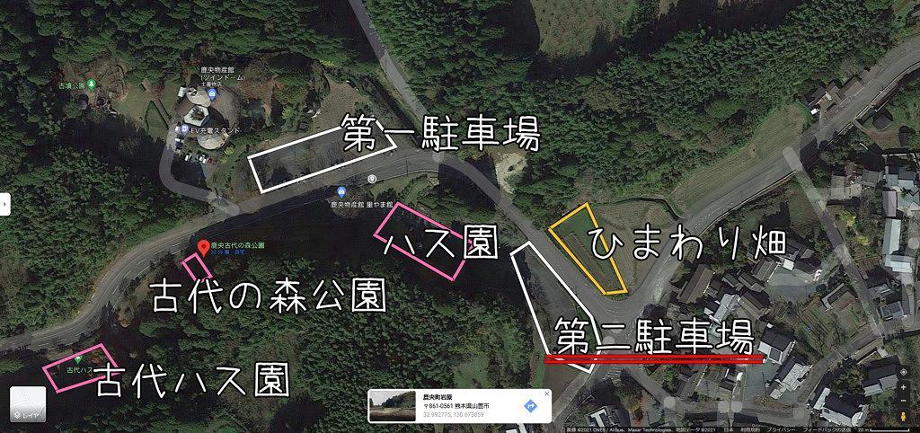 山鹿市 ハス 睡蓮 ひまわり 鹿央古代の森公園 map